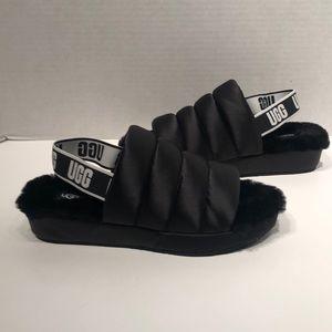 UGG Puff Yeah Black Quilted Satin Slides